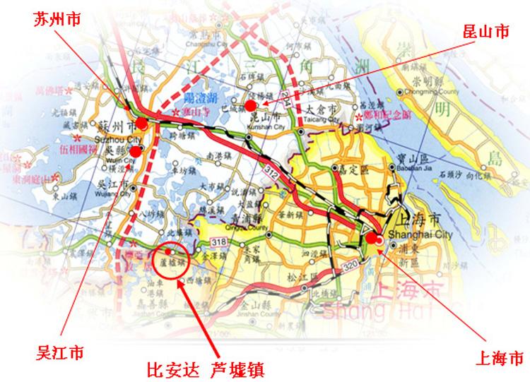 芦墟镇位于318国道旁,与沪青平,苏嘉杭高速公路相通,直通上海,苏州